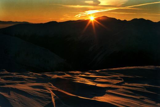 zachód słońca z Kasprowego